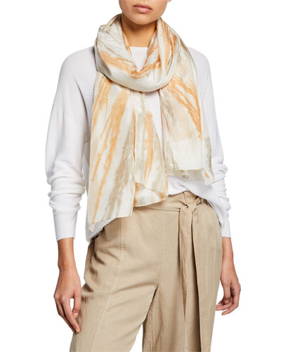 Natural Dyed Painted Strokes Scarf
