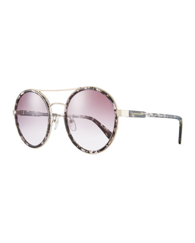 Acetate & Metal Round Mirrored Sunglasses
