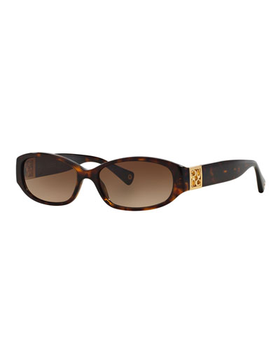 Slim Oval Sunglasses w/ Logo Insert