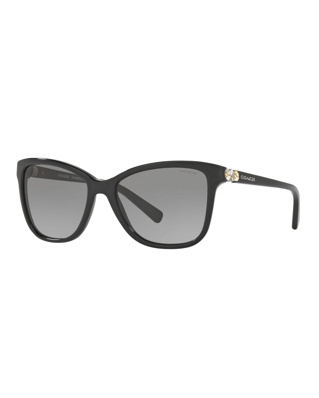 d0892822340 Coach Rectangle Acetate Sunglasses w  Metal Flower Temples