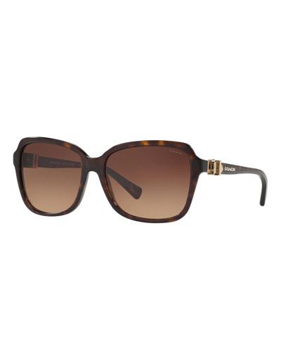 Square Acetate Sunglasses w/ 3D Buckle Temples