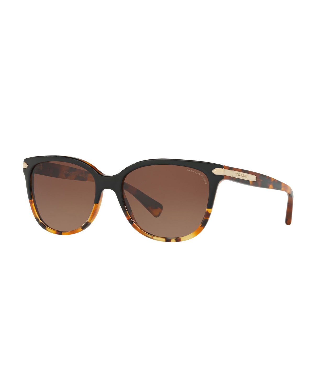 ef29876fc7fa8 Coach Cat-Eye Sunglasses w  Logo Plate Temples