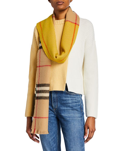 Cashmere Colorblocked Giant Check Scarf
