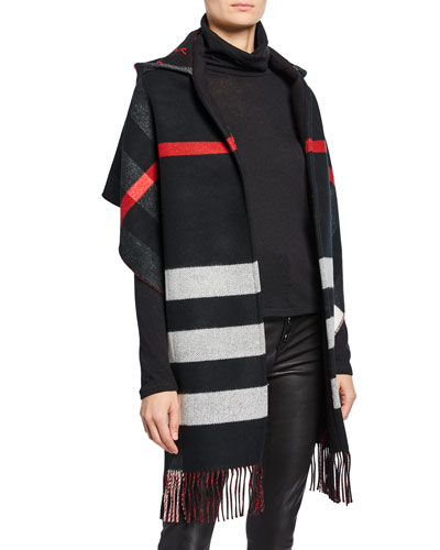 Hooded Check Fringe Scarf