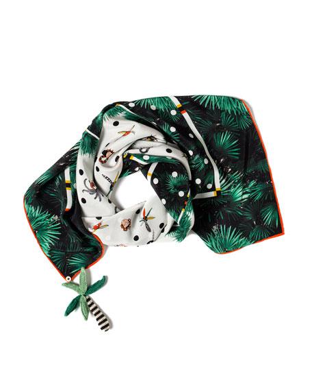 RUMISU Aloha Printed Silk Scarf in Green