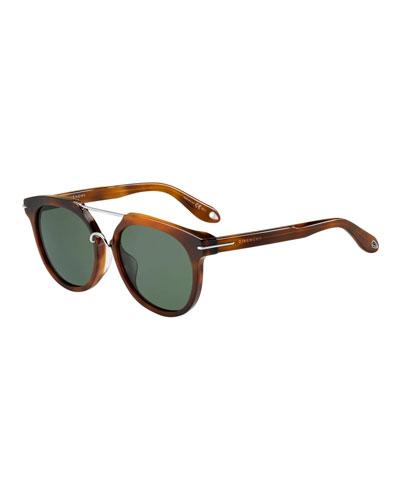Square Acetate Sunglasses w/ Metal Trim