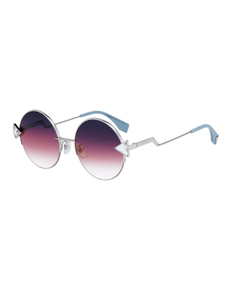 Round Gradient Sunglasses W/ Triangle Crystal Trim in Pink