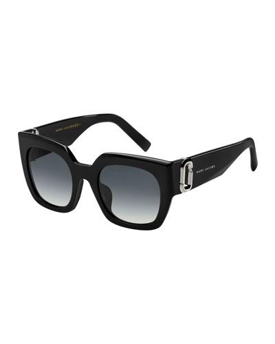 Square Gradient Sunglasses w/ Logo Link Temples