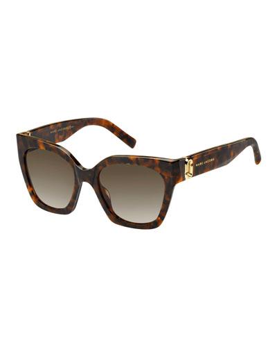 Square Acetate Sunglasses w/ Logo Temples