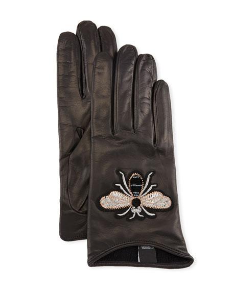 Guanti Giglio Fiorentino Embroidered Bee Leather Gloves