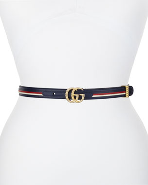 443dbd83679b4 Gucci Multicolored Leather Belt w  Textured GG Buckle