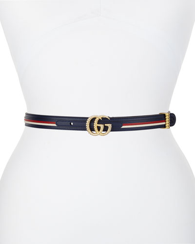 Multicolored Leather Belt w/ Textured GG Buckle