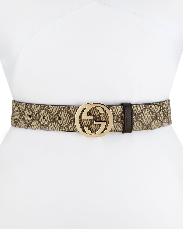 bb8ee01923db6 Gucci GG Supreme Canvas Belt w  Interlocking G Buckle
