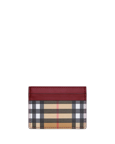 Sandon Vintage Check Card Case  Red