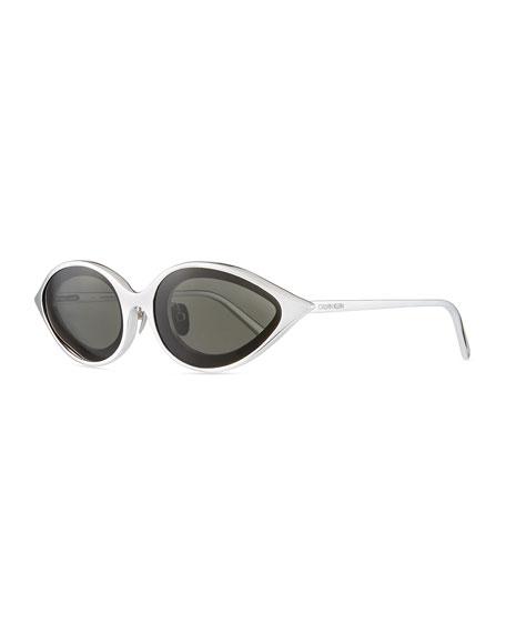 CALVIN KLEIN 205W39NYC Aluminum Oval Sunglasses