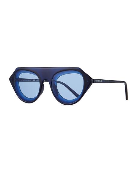 CALVIN KLEIN 205W39NYC Chunky Oval Acetate Sunglasses