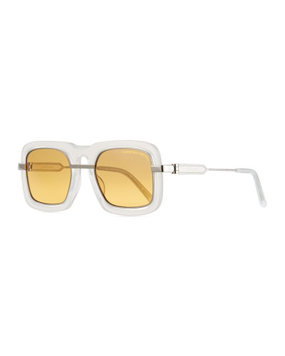 Mirrored Square Plastic & Metal Sunglasses