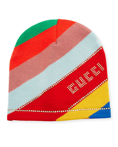 Multi-Stripe Wool Beanie Hat w/ Crystal Logo