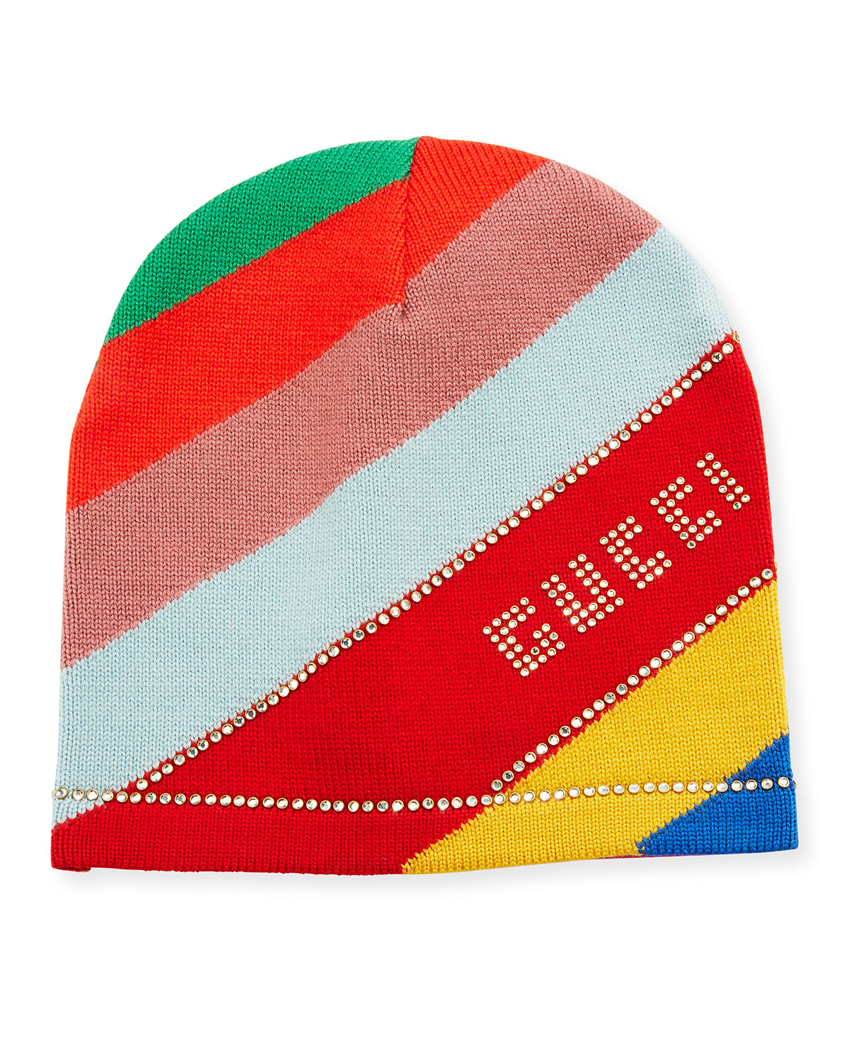 7c3e698054a Gucci Multi-Stripe Wool Beanie Hat w  Crystal Logo