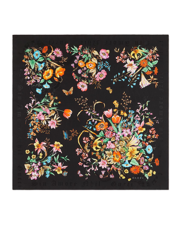 Sine Bouquet Silk Scarf by Gucci