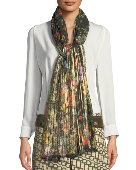 GUCCI Accessories Golden Flora Pleated Stole