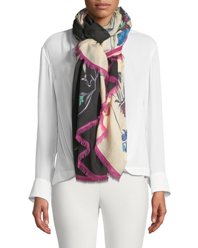 Colorblock Tropical Floral Scarf