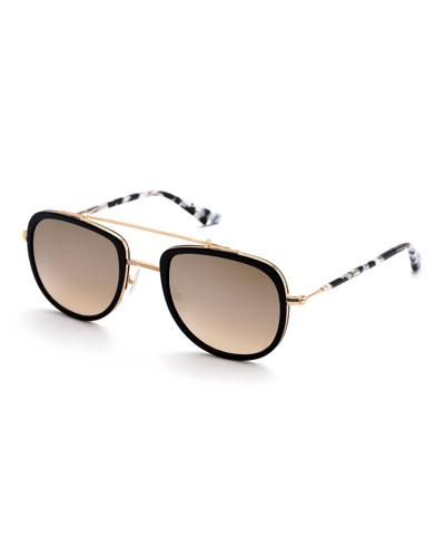 Breton Acetate & 24K Titanium Aviator Sunglasses