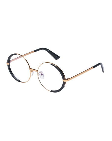 The Book Club SURROUND THE WORLD ROUND BLUE BLOCK OPTICAL FRAMES