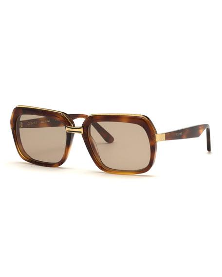 Celine Square Metal & Acetate Sunglasses