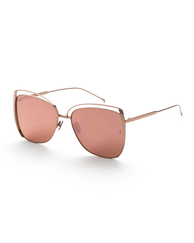 Poppy Cutout Titanium Square Sunglasses