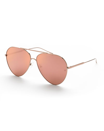 Ruben Mirrored Titanium Aviator Sunglasses