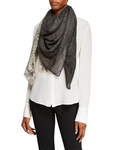 Cashmere Two-Tone Paisley Scarf