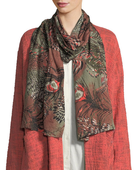 MASAI Peacock-Print Shantung Scarf in Olive/Coral