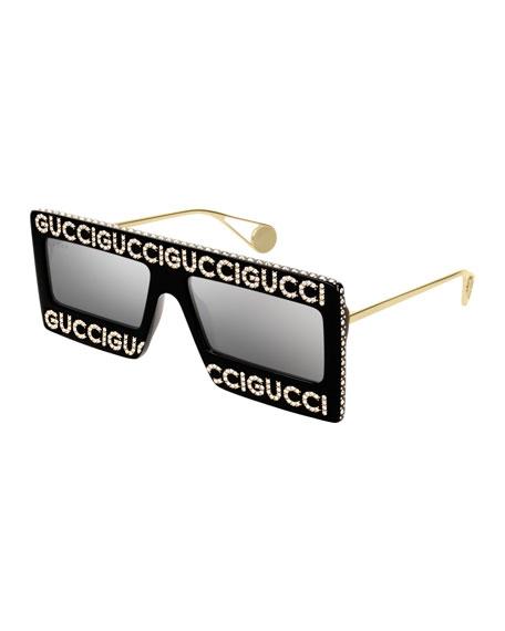 4b4d7da08ce Gucci Crystal Logo Shield Sunglasses In Black Gold Gray