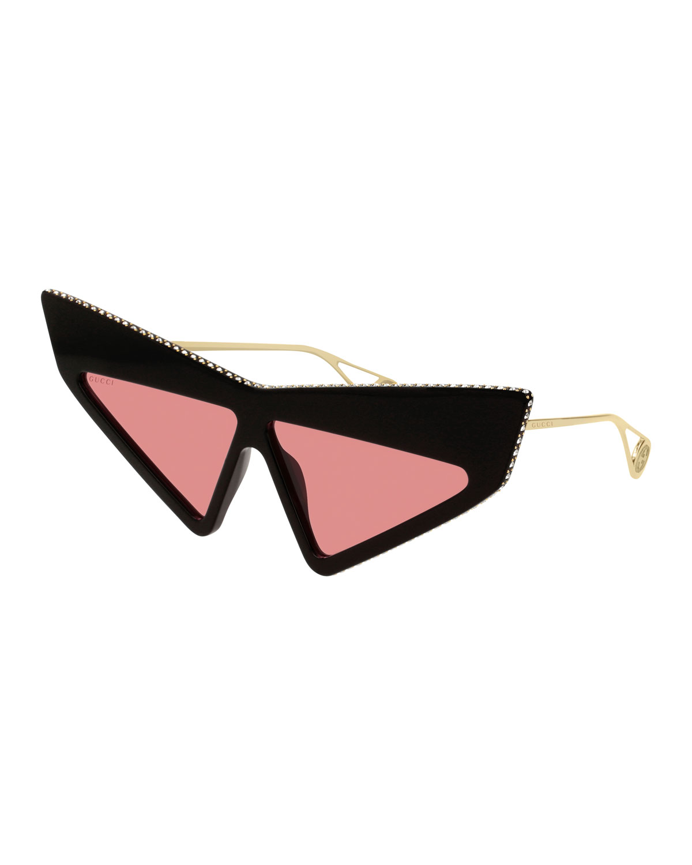 b1338127d00db Gucci Crystal Studded Acetate Mask Cat-Eye Sunglasses