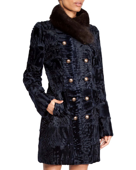 NORMAN AMBROSE Double-Breasted Swakara Short Coat With Sable Collar in Navy