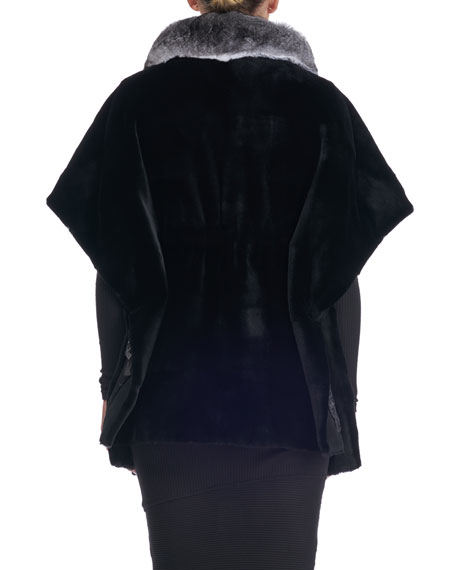0c09b0c31d40a Image 2 of 3  Sheared Mink Fur Cape with Chinchilla Collar
