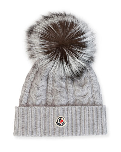 Cable-Knit Beanie Hat w/ Fox Fur