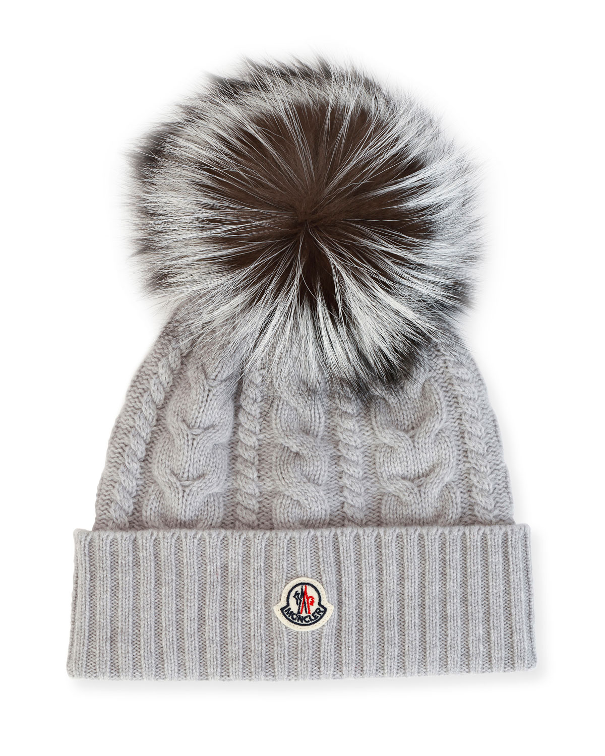 Moncler Cable-Knit Beanie Hat w  Fox Fur  dc0f1562f3