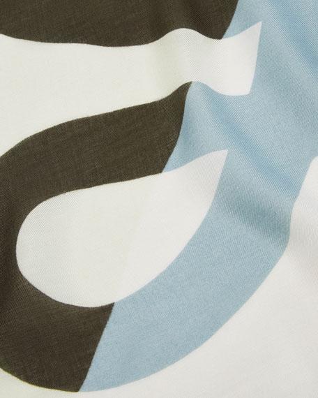 Striped Anagram-Print Fringe Scarf