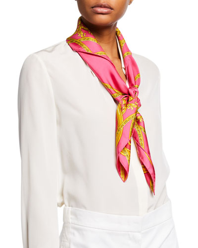 Baroque Cup Square Silk Scarf