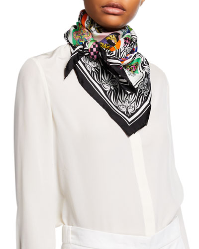 Silk Alphabet Scarf  White