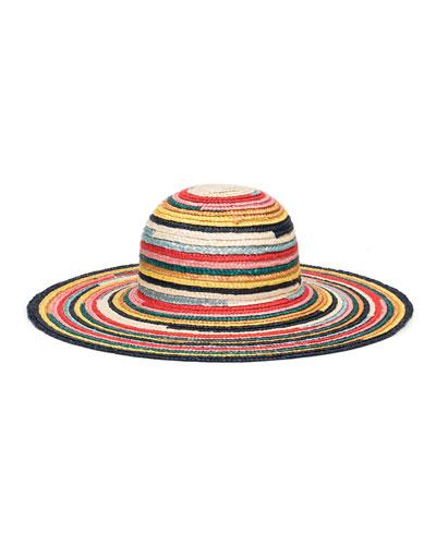 Bunny Multicolored Wide-Brim Straw Sun Hat