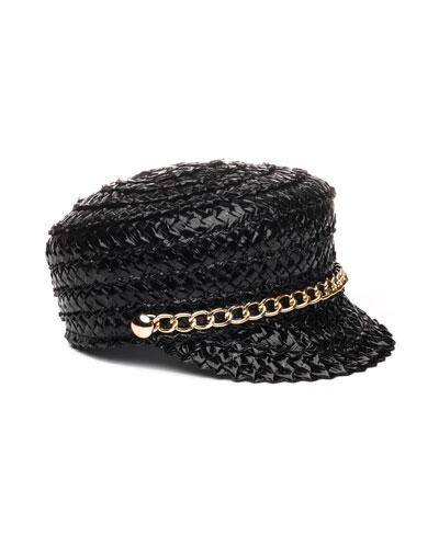 Sabrina Lacquered Braid Newsboy Hat