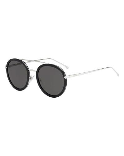 Trimmed Round Monochromatic Sunglasses  Black