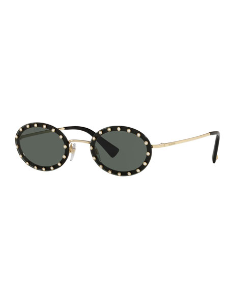 Crystal Embellished Oval Sunglasses in Green