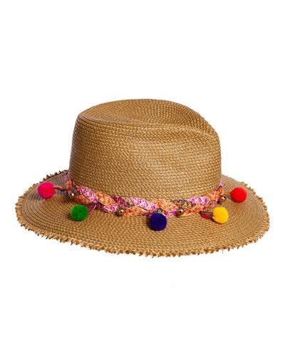 Corfu Woven Sun Hat w/ Braided Pompom Detail