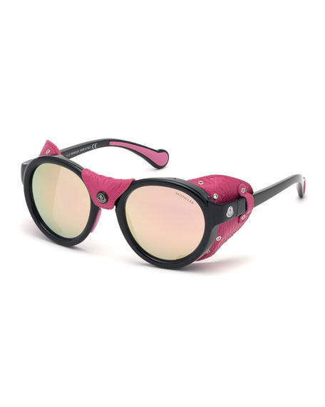 Moncler Round Mirrored Sunglasses w/ Leather Side Blinders