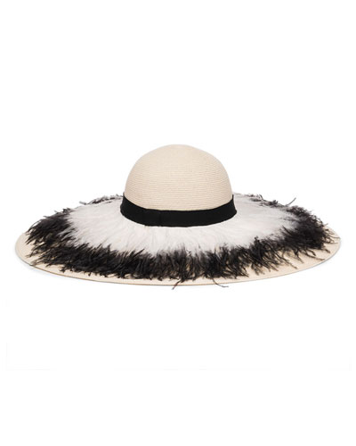 Sunny Ostrich Feather Fringe Sun Hat