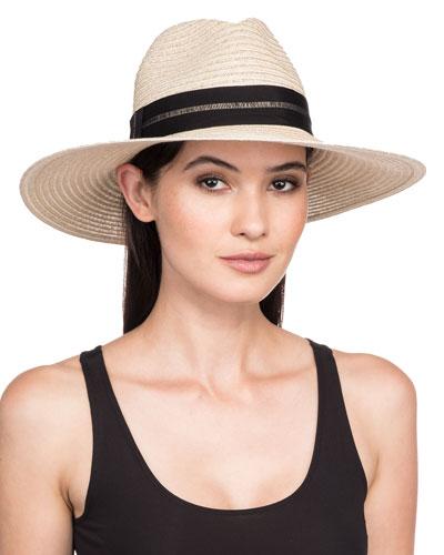 Emmanuelle Wide-Brim Packable Hemp Fedora Hat